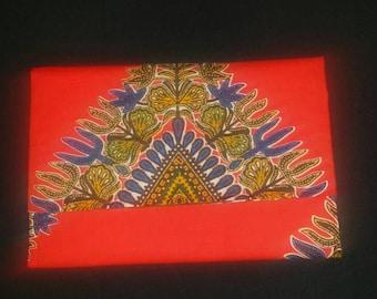Red African dashiki print clutch