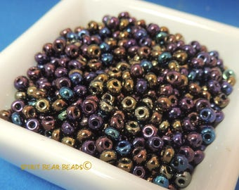 Jet AB  Rainbow Metallic Mix Glass Seed bead Mix 50 grams size 6/0