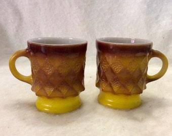 Vintage 1950s Anchor Hocking diamond pattern coffee cups.
