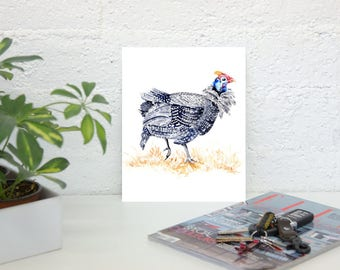 Guinea hen - Art print of Watercolor guinea fowl - South Africa wildlife bird Guineafowl baby shower nursery cabin cottage