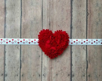 Shabby heart on white elastic band with red heart polka dots for baby, toddler and adult