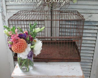 RuSTiC ANTiQuE BiRDCaGe With SLiDe OuT BoTToM - CiRCa 1940's