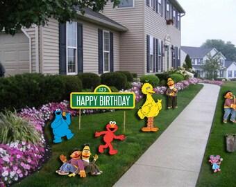 Sesame Street Digital Lawn Decorations- Sesame Street Birthday Banner- Sesame Street Birthday Party - Sesame Street Birthday