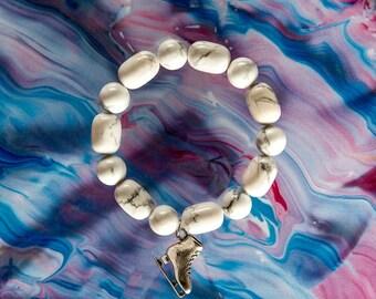 Opal Bracelet, Ice Skating Bracelet, Ice Skate Charm, Ice Skater Gift, Cacholong Bracelet, Charity Bracelet, Charity Donation