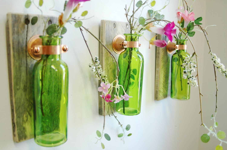 ?zoom & Rustic Glass Bottle Trio Farmhouse style Wall Decor