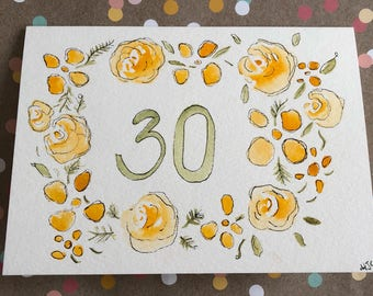 30th Birthday Card, Hand Painted 30th Birthday Card, Watercolor 30th Birthday Card