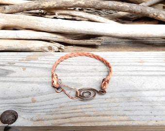 Natural Tan Leather Bracelet Simple Beige Leather Band Handmade Copper Leather Bracelet Minimalist Jewelry Boho Stocking Stuffer Gift