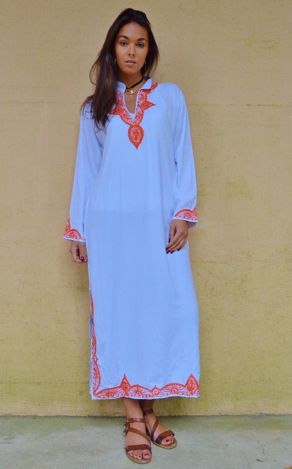 25% OFF Labour Day SALE Kaftan Moroccan Clothing //White Orange Melik Moroccan Caftan Kaftan -maxi, resort, beach cover up, Birthdays, Moroc