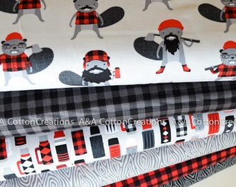 Burly Beavers Quilting Cotton Bundle of 6, Hipster fabric, Red Black Plaid, Boy Fabric, Animal Fabric, Robert Kaufman Fabrics