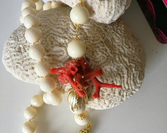 Coral Necklace white and red silver brass long necklace with coral branches