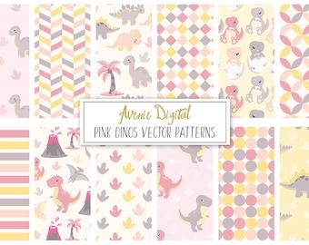 Pink Dinosaur Digital Paper. Scrapbook Backgrounds, Cute animals vector patterns, Girly Dinos, Trex, Triceratops, brontosaurus, stegosaurus,
