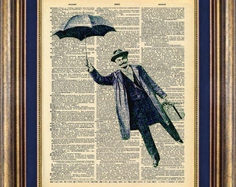 Umbrella ManUnique Gift Vintage Dictionary Page Print  Up Cycled