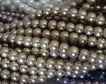 50 glass beads 8 mm Gunmetal Silver