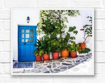 Door photography, bathroom wall art, Greece print, travel photography prints, Greece art, blue wall art, travel print, Greece photography