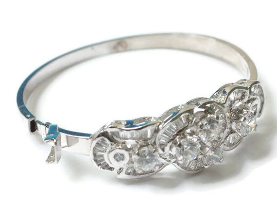 Rhinestone Bangle Bracelet Bridal Pageant Hinged Smaller Wrist