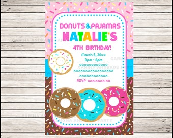 Donut invitation; Donut Birthday invitation, Donut party Invitation Digital File