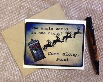 Christmas Card, Dr Who, Tardis, Geeky Greeting Card, Blank Inside