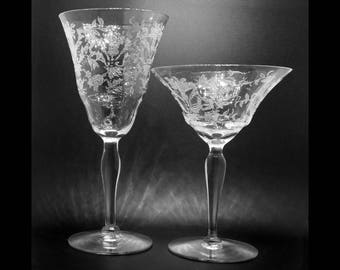 Set of antique crystal, 8 wine/water glasses and 6 coupe champagne glasses coupe, Lace Bouquet by Morgantown