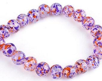 Glass beads, circular, decorated ± 12mm (hole 2 m) (10pcs).