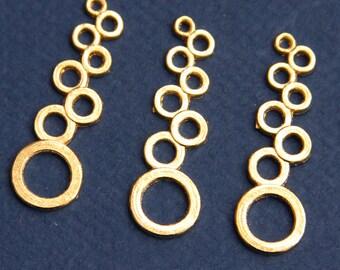 6 pcs of Gold plated Circle drops 37x11mm