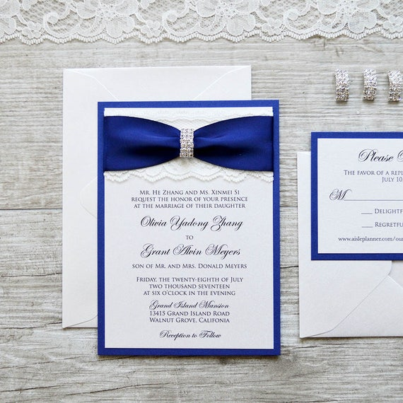 OLIVIA - Ivory Lace Wedding Invitation with Royal/Navy Blue Ribbon and Silver Rhinestone Buckle - Classic and Elegant Wedding Invitation