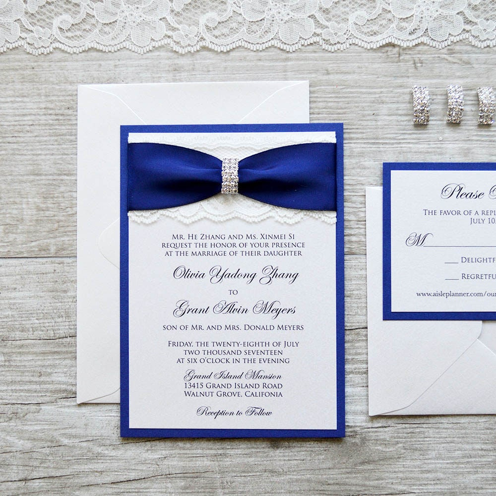 Navy Blue And Ivory Wedding Invitations: OLIVIA Ivory Lace Wedding Invitation With Royal/Navy Blue