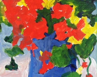 Art, Flower art, still life with red flowers, nasturtiums, original painting, painting on paper, small art on paper, modern impressionist