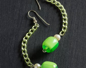 50% OFF SALE Vintage Green Candy Dangle Drop Earrings with Striped Lucite Beads, Freshwater Pearls and Matching Chain Silver Hooks Jewelry
