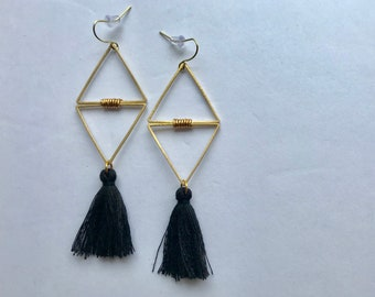 Double Triangle Losange Brass + Black Tassels Pendant Earrings