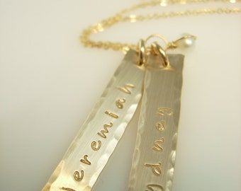Personalized Gold Name Bar Necklace - Hand Stamped Jewelry