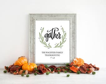 Personalized Thanksgiving Signage, Thanksgiving Sign Decor, Give Thanks Sign, Friendsgiving Sign, Table Signage, Thanksgiving Table, Gather
