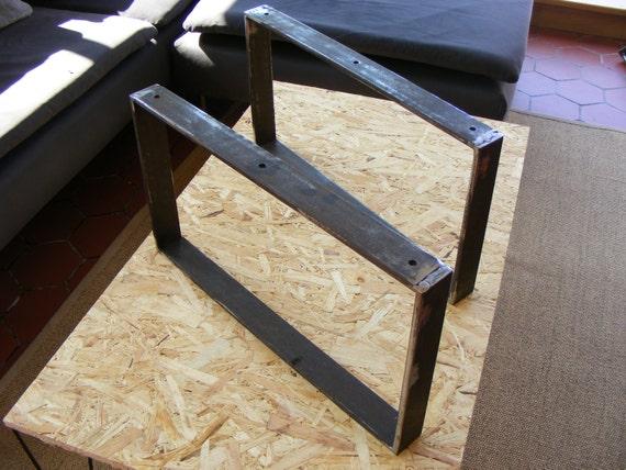 lot de 2 pieds de table basse en fer plat hauteur 30 ou 35 cms