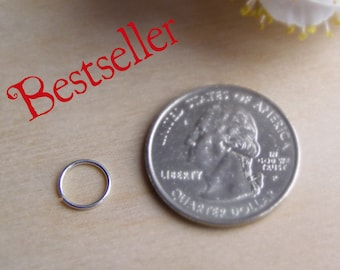 Tiny nose ring 6 mm 22g - Small earring - Septum ring - Cartilage hoops size - Sterling Silver - Piercing