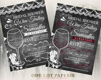 Wine Tasting Bridal Shower Invite, Chalkboard Bridal Shower Invite, Wine Glass Bridal Shower Invite, DIY Printable Wine Bridal Shower Invite