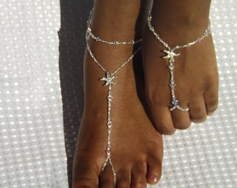 Elegant Wedding Barefoot Sandal Swarovski Wedding Foot Jewelry Beach Wedding Starfish Barefoot Sandal