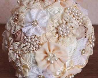 Brooch bouquet, wedding set! bridesmaids bouquets, ivory wedding bouquet, ivory wedding