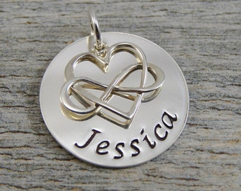Hand Stamped Jewelry - Personalized Jewelry - Charm For Necklace - Sterling Silver Circle - Name & Infinity Heart Charm