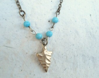 Turquoise Bead Necklace Arrowhead Necklace Boho Necklace Bohemian Necklace Layering Necklace  Boho Necklace