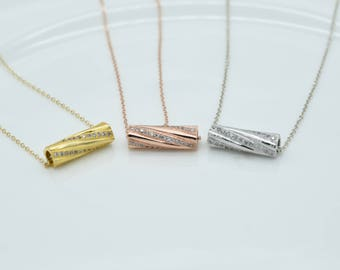 gold diamond tube necklace,silver zircon tube necklace,pendant necklaces,statement necklaces,handmade Jewelry,14K gold filled,gifts for her