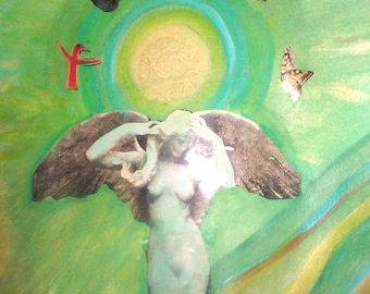 Original Angel Mixed media collage print- Angel of TRANSFORMATION