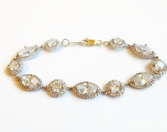 Crystal Bridal Bracelet - Bridal Bracelet - Crystal Bangle