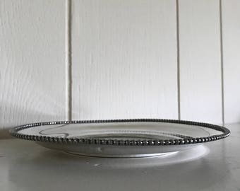 Antique Vintage Small Round Plate -  Quadruple Plate - Van Bergh Silver Plate Co - Food Photography Prop - Bar Cart Decor