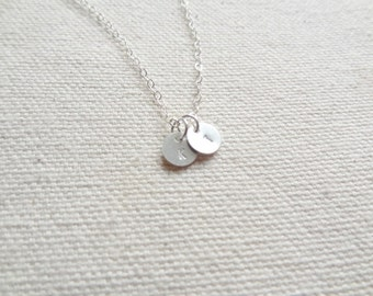 Tiny sterling silver double initial necklace - hand stamped necklace - gift for her - simple jewelry - layering jewelry - initial jewelry