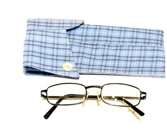 Light Blue Plaid Eyeglass Case, Upcycled Mens Shirt Collar Sunglasses Pouch, Eco Handmade Fabric Eyewear Sleeve itsyourcountry