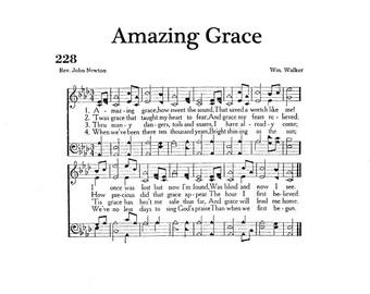 Amazing Grace Christian Hymn Digital Sheet Music Non Script Title Home Decor Inspirational Art Gift Do It Yourself