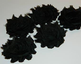 ON SALE Black Shabby Flowers Trim, DIY Flower Appliques, Headband Flower Supply, Shabby Rose Trim, Black Shabby Chiffon Flower