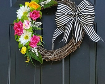 Grapevine Floral Wreath, Spring, Farmhouse, Stripes, Country, White, Pink, Yellow , Bow