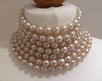 Original 1990s Pink Pearl coloured 7 stranded choker and matching earrings set