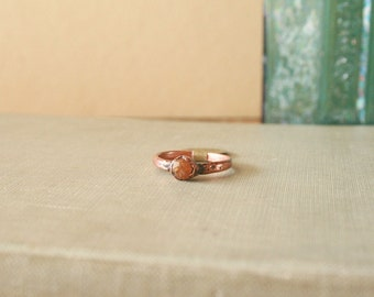 Raw Spessartine Garnet Ring Electroformed Copper Size 6.25