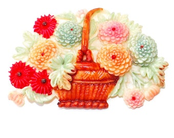 Vintage Celluloid Chrysanthemum Flower Basket Brooch Pin Japan